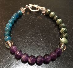 Bracelets For Ladies : Weight Loss Motivation - Blue Apatite, Amethyst, Seraphinite, & Quartz Bracelet - Hunger Suppression - weight loss bracelet Healing La Weight Loss, Best Weight Loss Plan, Losing Weight Tips, Diet Plans To Lose Weight, Healthy Weight Loss, How To Lose Weight Fast, Weight Loss Supplements, Weight Loss Motivation, Fitness Motivation