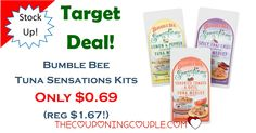 HOT DEAL! Stock up on Bumble Bee Tuna Sensations Kits for only $0.69 (reg $1.67)! Great deal for a light lunch or quick snack!  Click the link below to get all of the details ► http://www.thecouponingcouple.com/target-deal-bumble-bee-tuna-sensations-kits-only-0-69-reg-1-67/ #Coupons #Couponing #CouponCommunity  Visit us at http://www.thecouponingcouple.com for more great posts!