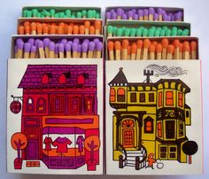 Vintage matchbox designs inspired by San Francisco architecture (1966)