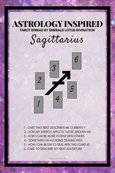 Tarot spread inspired by the Zodiac sign Sagittarius! Enjoy more free spreads online, www.emeraldlotus.ca