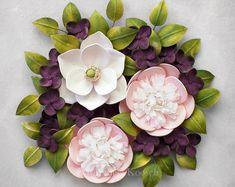 Peony Magnolia Hydrangea Flowers Wall Art - Plant Home Decor - Pastel Spring Flowers Decoration - Framed Botanical Decor - Nursery Decor