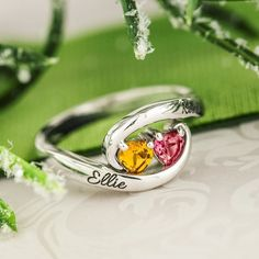 The ring that's all about love.  With two heart-shaped gemstones and two top engravings it's the perfect mother's ring promise ring friendship ring couples ring or just-because ring! Link to ring in bio- now on sale! . . . #jewelry #mom #mothersring #giftsformom #giftsforher #promisering #hearts #cute #personalized #sale #shopping #birthstones #sparkle #accessories#inlove #cutecouples #holiday http://jwl.io/f05ef