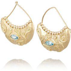 Aurélie Bidermann Fine Jewelry Cashmere 18-karat gold, aquamarine and... ($17,470) ❤ liked on Polyvore featuring jewelry, earrings, gold, aquamarine earrings, 18k jewelry, 18k earrings, 18 karat gold earrings and clasp earrings