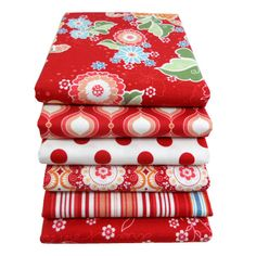 FLUTTER Red Fat Quarter Bundle - Riley Blake Designs Cotton Quilting Fabric by Quilted Fish - 6 pcs. $16.50, via Etsy.