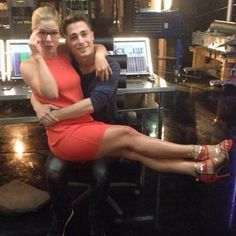 Emily Bett & Colton Haynes as Felicity Smoke & Roy Harper from Arrow