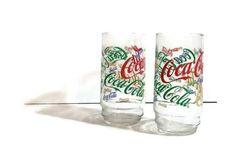 Coca Cola Glasses tumblers retro coke glasses lot of 2