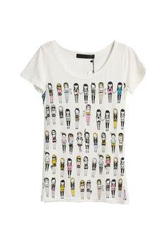 Girls Pritned White T-shirt