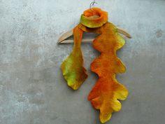 Felted wool long hand dyed scarf -  Oak Leaf - rusteam, fall fashion color, wet felt, dijon, mustard, yellow, orange, green. $73.00, via Etsy.