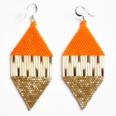 Beaded Porcupine Quill Earrings (Orange and Gold) by Beyond Buckskin Boutique