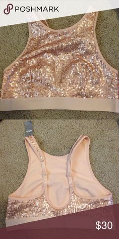 """AERIE Gold Sequin Bralette, Size Small NWT AERIE sequin bralette.  Beige (""""buff"""") with gold sequins. Size Small.  New with tags. Never worn. aerie Intimates & Sleepwear Bras"""
