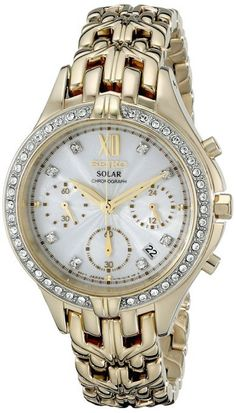 Seiko SSC876 Women's Solar Gold-Tone Watch With Swarovski Crystals And Chronograph