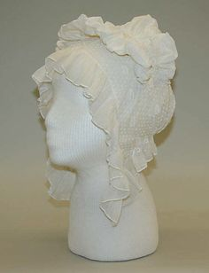 Cotton and linen cap 1810's