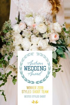White blush bridal bouquet by PONK Rentals for our styled shoot Say YES in Austria at Schloss Eckartsau - winner of the Austrian Wedding Award 2018 Blush Bridal, Destination Wedding Planner, Austria, Wedding Blog, Wedding Bouquets, Awards, Table Decorations, Weddings, Flowers