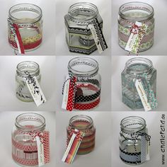Windlichter aus Marmeladengläsern und Washi-Tape Washi Tape Diy, Masking Tape, Diy École, Pots, Diy Candles, Bottle Art, Filofax, Cute Gifts, Bunt