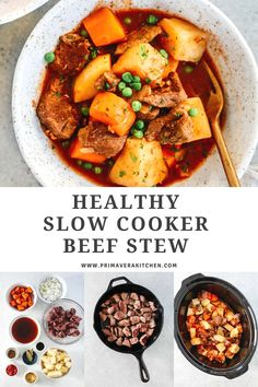Cozy, delicious and rich, this gluten-free Healthy Slow Cooker Beef Stew is loaded with potatoes, carrots, and mushrooms alongside tender, melt in your mouth beef. It's paleo friendly as well! #healthybeefstew #healthyslowcookerbeefstew #beefstew Best Paleo Recipes, Healthy Meat Recipes, Gluten Free Recipes For Breakfast, Healthy Slow Cooker, Slow Cooker Soup, Slow Cooker Recipes, Beef Recipes, Soup Recipes, Healthy Meats