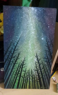 painting sky night watercolor acrylic canvas paintings beginner milky way beginners techniques easy galaxy atb paint super landscape cool skies