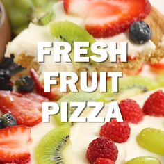 Fresh Fruit Pizza - A vibrant, delicious dessert pizza with a sugar cookie crust, cream cheese frosting and gorgeous seasonal fruit! pizza recipe Fresh Fruit Pizza with a Cookie Dough Crust Köstliche Desserts, Best Dessert Recipes, Fruit Recipes, Delicious Desserts, Pizza Recipes, Healthy Fruit Desserts, Easy Fruit Pizza, Sugar Cookie Fruit Pizza, Chicke Recipes