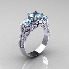 14K White Gold Three Stone Diamond Aquamarine by NaturesNouveau, $1359.00