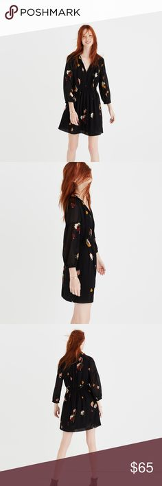 """Madewell Painted Floral Tie Neck Dress Size 0 You are bidding on a lightly used Madewell Painted Floral Tie Neck Dress in a size 0 from Holiday 2016.  I wore this once to a Christmas party and then it has just sat in my closet.  It originally went for $158.  Madewell's description: PRODUCT DETAILS Waisted. Falls 34 7/8"""" from highest point of bodice. Poly. Lined. Machine wash. Import. Madewell Dresses"""