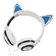 2017 Gaming Headphones Cat Ear Creatives Luminous Earphone Foldable Flashing Glowing Gaming Headset with LED light For PC Laptop Bullet Points: Cat Ear Headphones with Glowing Blue Lights. Best In Ear Headphones, Gaming Headphones, Headphone With Mic, Gaming Headset, Cat Ear Headset, Led Licht, Luz Led, Laptop Computers, Consumer Electronics