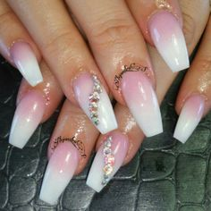 Pink and white ombre coffin nails