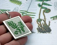 cross stitch pendant – Etsy