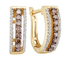 SALE!! Brown Chocolate Diamond Hoop Earrings 14k Yellow Gold Round (1/2 CTW) REVIEW