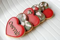 Camouflage Valentine's Cookies