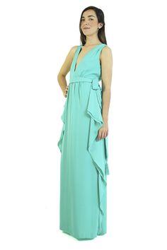 """BCBG MaxAzria Vestido aqua con escote """"V"""", Suzanne"""