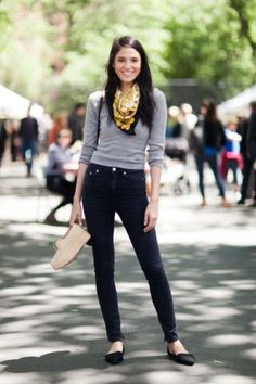 Cerelina, model, wears a vintage scarf, Reformation top, BLK DNM jeans, and Chinese Laundry shoes.