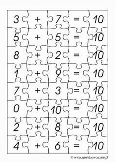 puzzle - make 10 Primary Maths Games, Kindergarten Math Worksheets, Math Resources, Teaching Math, Math Activities, 1st Grade Centers, 1st Grade Math, Math Centers, Daily 5 Math