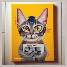 Artist: Ng Ling Tze aka Tamaow Title: I Am Genius (Available) Medium: Acrylic On Canvas Size: 31cm x 23cm Year: 2014  Idea about:  Skittles is awfully smart - she can open cages and figure out puzzles quickly. She is also highly athletic and so very approachable.  Now Skittles is Cat Cafe Neko no Niwa's staffs most flavored cat.  www.slothstudio.com