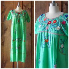 1970s cotton floral embroidered Mexican maxi by SchoolofVintage, $34.00