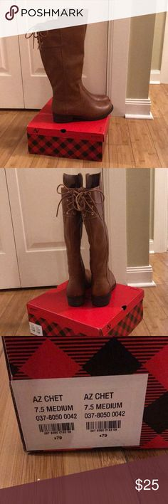 NWT Arizona Jeans tall cognac boots Memory foam tall cognac boots with cute ties up the back. Size 7.5 Arizona Jean Company Shoes Over the Knee Boots