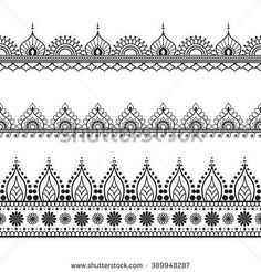 Border elements in Indian mehndi style for card or tattoo. Vector illustration isolated on white background.