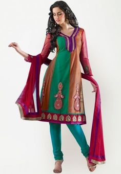 Embroidered multi color dress material