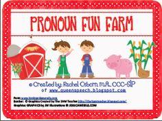 The Queen's Speech: Pronoun Fun Farm is here!, TPT, #SLP, pronouns, plurals, sentences, activity/game