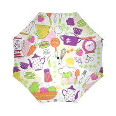 Cute Modern Kitchen Food Flower Pattern Foldable Umbrella