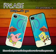 Patrick star and Spongebob beach style : Case For Iphone 4/4s ,5    Perfectcases - Accessories on ArtFire