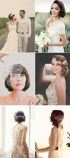 20 Totally Chic On-Trend Ways to Style Your Bridal Bob / Lob! Vintage-inspired
