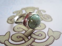 Handmade Sterling and Turquoise Ring Size 6 by JudithGayleDesigns, $149.00