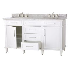 The Sonoma Double Vanity offers big style in a restrained design. Slightly tapered legs, recessed panels and simple crown molding create a lovely modern bathroom vanity. The white European carrara marble top is pre-drilled for your faucets.