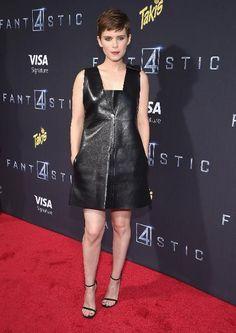 Kate Mara in a black sleeveless leather Valentino mini-dress.