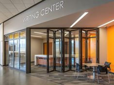 ActivWall's horizontal folding wall opens up this space in Salina High School in Kansas. #horizontalfolding #foldingwall #foldingdoor #aluminumdoor #highschoolconstruction #activwall