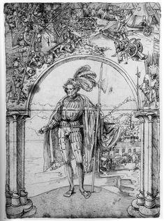Artist. Deutsch, Niklaus Manuel, Title: Eidgenosse unter einem Bogen mit dem Sturm auf die Festung Castellazzo, Federzeichnung, Bern, Date: ca. 1507