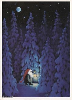 ~ Eva Melhuish Nisse at night in winter forest with a lantern. Take a nighttime walk on solstice night Noel Christmas, Vintage Christmas Cards, Christmas Pictures, All Things Christmas, Winter Christmas, Xmas, Country Christmas, Illustration Noel, Christmas Illustration