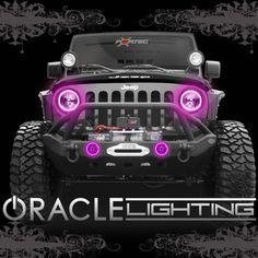 2007-2014 Jeep Wrangler JK ORACLE LED Headlight+Fog Light Halo Kit Combo-Pink #ORACLELighting