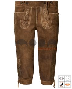 Loisachtal Trachten Kniebundhose Braun Art. #MnS-60-0092935 Length: Knee bound (Kniebund) Material: Goat skin Buttons: Deer horn DESCRIPTION Loisachtal Trachten Kniebundhose for men by Moon Sports in old brown. The classic cut knee breeches (kniebundhose) have two front pockets, useful belt loops and can also be regulated above the buttocks and on the trouser leg with leather cords in the width. Lederhosen by Moon Sports stand for highest quality and are characterized....(cont'd) Lederhosen, Sport, Cords, Leather Cord, Deer, Khaki Pants, Trousers, Moon, Buttons