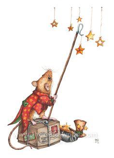 Christmas Stars by WildWoodArtsCo on DeviantArt Christmas Nativity Scene, Noel Christmas, Maus Illustration, Rabbit Art, Christmas Illustration, Decoupage, Woodland Creatures, Christmas Pictures, Fabric Painting