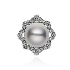 Art Deco 18K  14K  925 Silver 35 pcs Natural Sapphire Tahitian South Sea 9.5-10mm Cultured Round Natural Color Pearl Cocktail Ring
